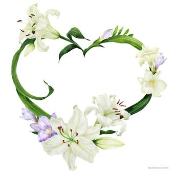 Corona de corazón tropical con lirio oriental y fresia