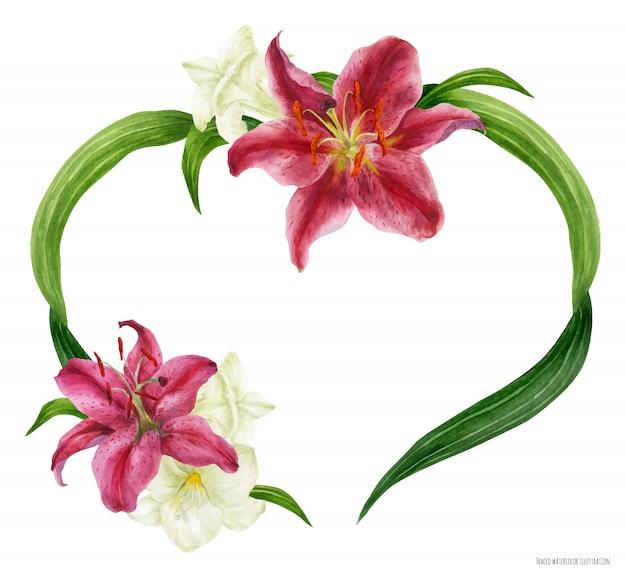 Corona de corazón tropical con lirio stargazer y fresia