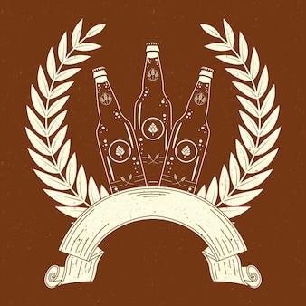 Corona del día internacional de la cerveza con botellas.