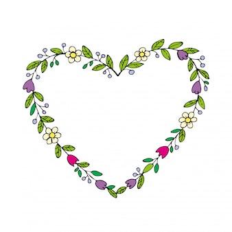 Corona dibujada a mano en forma de corazón con flores. fronteras de dibujo floral, marco de corazón.