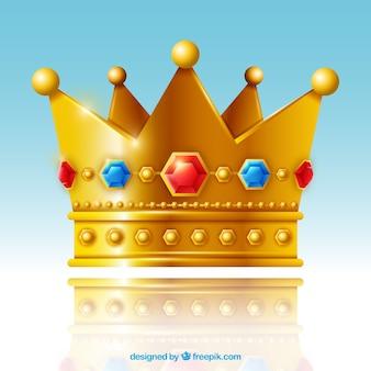 Corona dorada aislada con joyas rojas y azules
