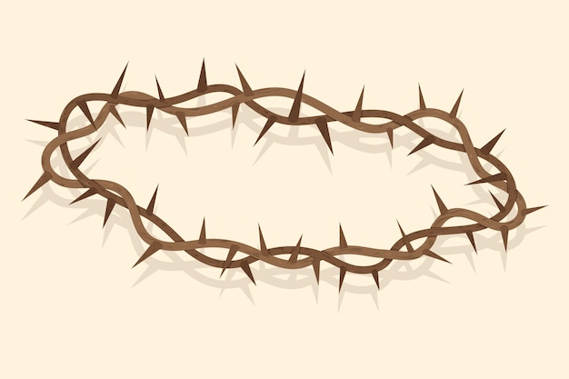 Corona de espinas de diseño dibujado a mano