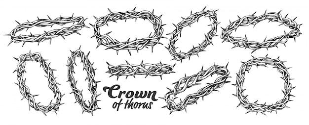Corona de espinas religioso conjunto tinta