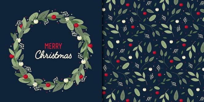 Corona de estilo plano de hojas y bayas de navidad y patrones sin fisuras