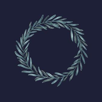 Corona de eucalipto dibujada a mano