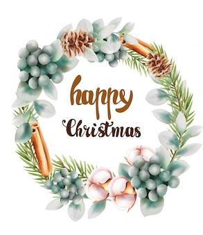 Corona de feliz navidad con adornos