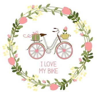 Corona floral y bicicleta para invitaciones y tarjetas de felicitación