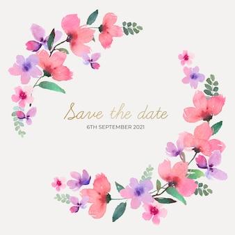Corona floral de boda acuarela