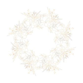 Corona floral dorada con peonías