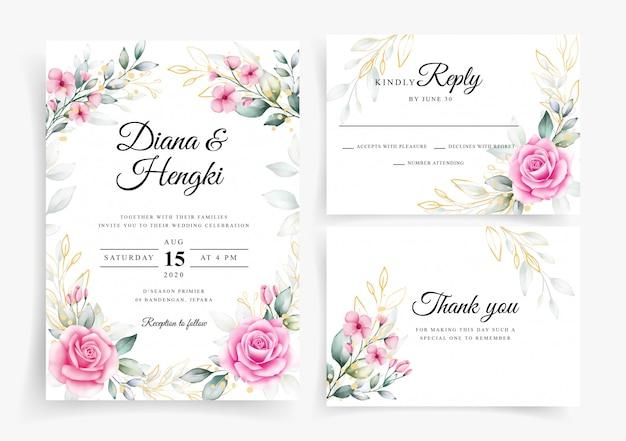 Corona floral de rubor y oro en plantilla de tarjeta de invitación de boda