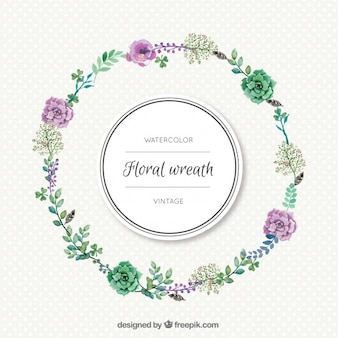 Corona floral sencilla de acuarela