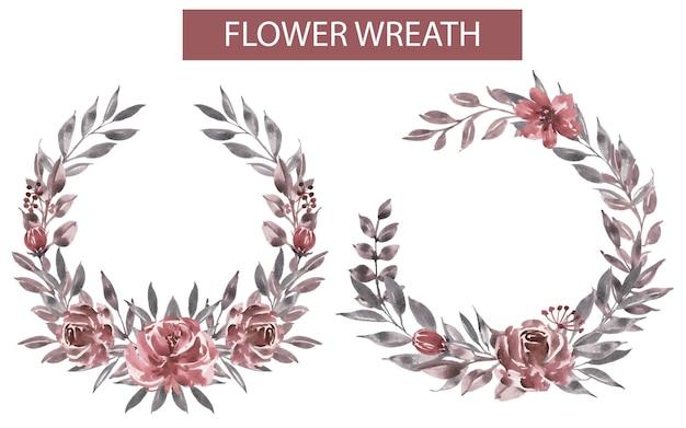 Corona de flores de acuarela granate