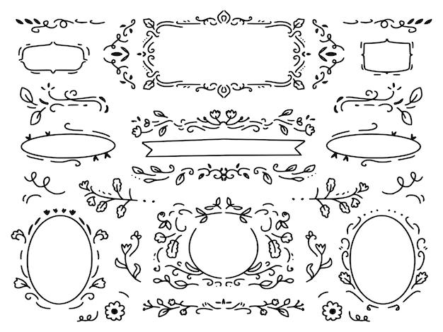 Corona de flores de adorno y colección de conjunto de marco de dibujo decorativo