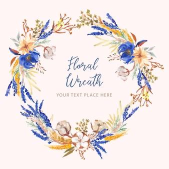Corona de flores de algodón azul y amarillo