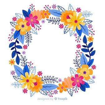 Corona de flores dibujada y colorida