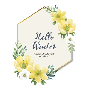Corona de flores de invierno con anémona
