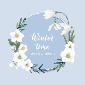 Corona de flores de invierno con galanto, anémona