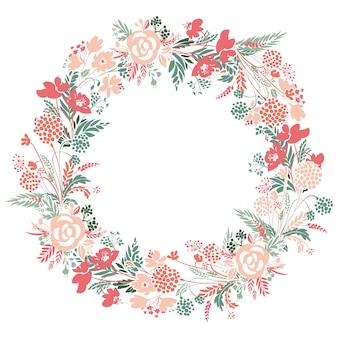 Corona de flores romántica.