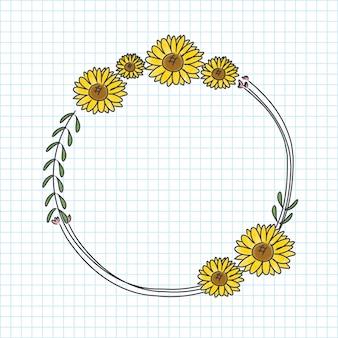 Corona de girasol dibujada a mano
