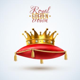 Corona goyal sobre almohada roja