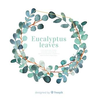 Corona de hojas de eucalipto en acuarela