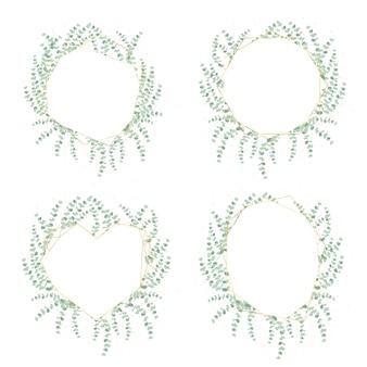 Corona de hojas de eucalipto dólar de plata con marco dorado de lujo y colección de brillo aislado