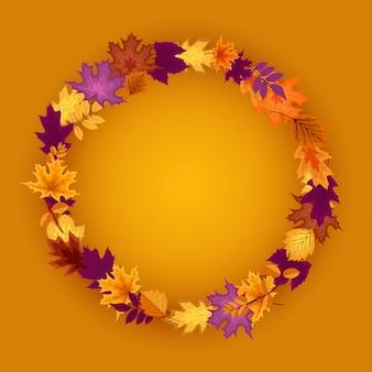 Corona de hojas de otoño cayendo