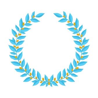 Corona de laurel azul con bayas doradas.