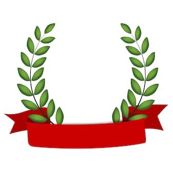 Corona de laurel con cinta roja aislado sobre fondo blanco.