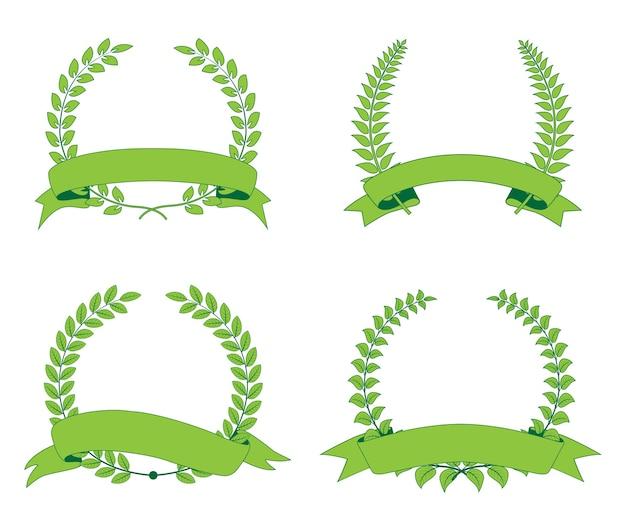 Corona de laurel de hojas verdes con cinta
