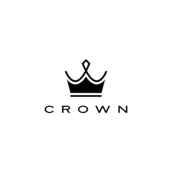 Corona logo icono ilustración línea rayas estilo