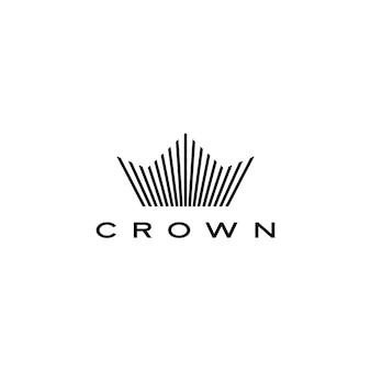Corona logo icono línea rayas estilo