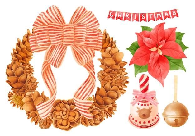 Corona de madera de navidad y elementos de decoración ilustraciones estilos de acuarela