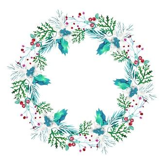 Corona de navidad en acuarela