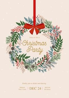 Corona de navidad con bayas de acebo, muérdago, ramas de pino y abeto, conos, bayas de serbal. invitación de navidad y feliz año nuevo