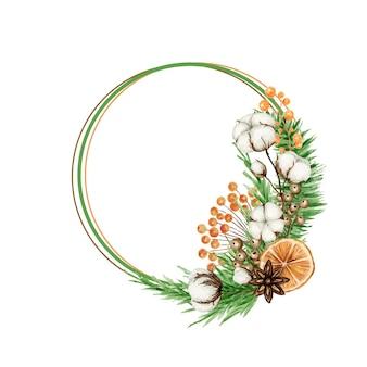 Corona de navidad boho con ramas de pino, anís estrellado, flor de algodón. ilustración aislada de la frontera del invierno de la vendimia de la acuarela.