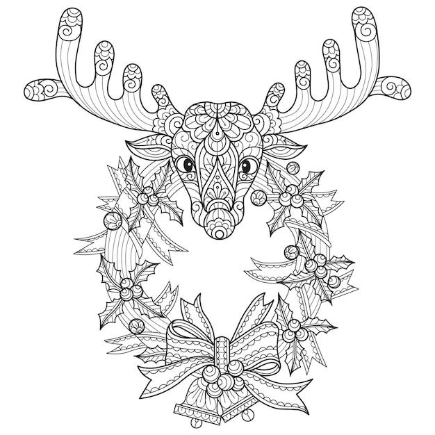 Corona de navidad y ciervos, ilustración de boceto dibujado a mano para libro de colorear para adultos.