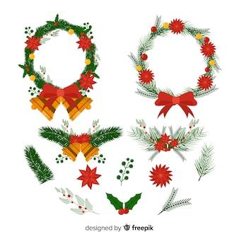 Corona de navidad con cintas con cascabeles