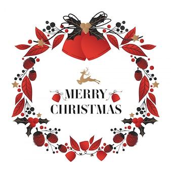 Corona de navidad decorada con campanas de navidad y texto de feliz navidad.
