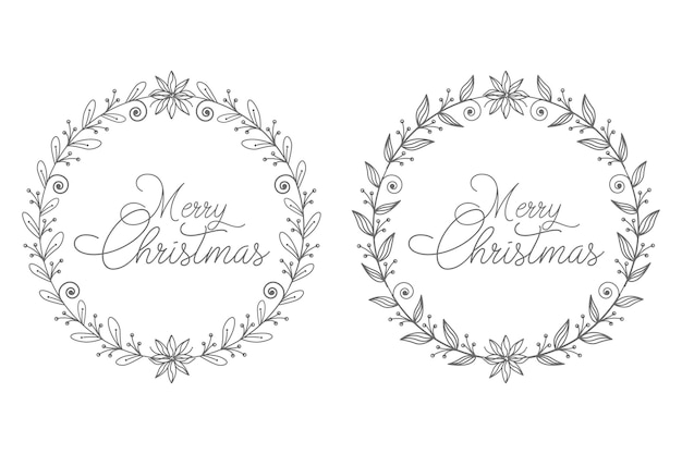 Corona de navidad dibujada a mano abstracta por concepto de decoración