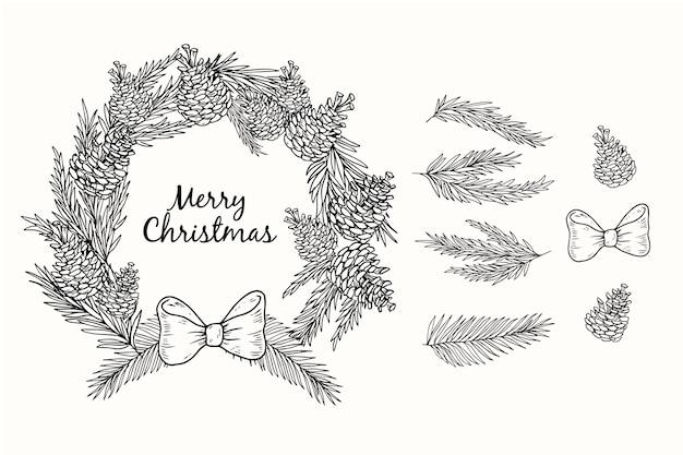 Corona de navidad dibujada a mano en blanco y negro