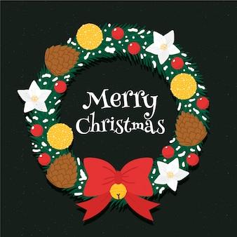 Corona de navidad dibujada a mano con cinta de lazo lindo