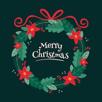 Corona de navidad dibujada a mano con flores y cinta