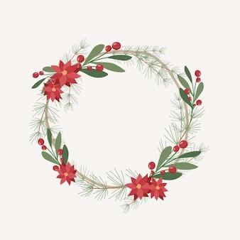Corona de navidad de diseño plano