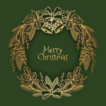 Corona de navidad dorada