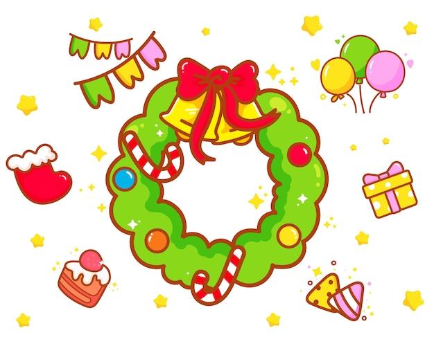 La corona de navidad y elementos dibujados a mano ilustración