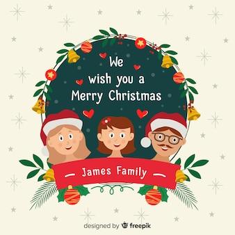 Corona navidad familia sonriente