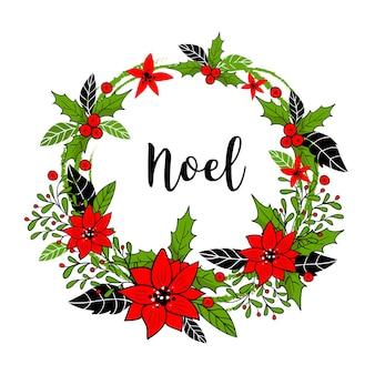 Corona de navidad con flores rojas de invierno y hojas verdes sobre fondo blanco. tarjeta de felicitación navideña