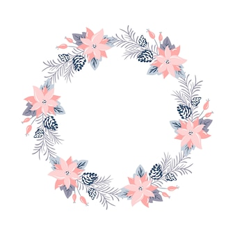 Corona de navidad con flores rosas y ramas de cono con lugar para texto