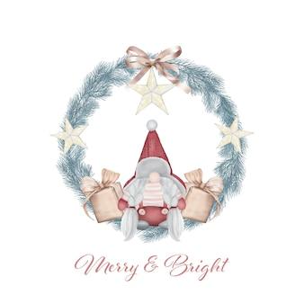 Corona de navidad con gnomo y regalos